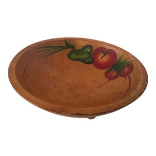 Painted Wooden Fruit Bowl For Sale