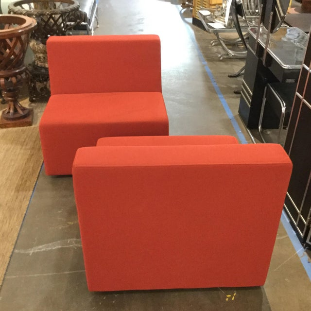 Steelcase 1990s Modern Steelcase Orange Fabric Armless Side Chairs - a Pair For Sale - Image 4 of 4