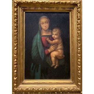 1860's Oil on Canvas Madonna Grand For Sale
