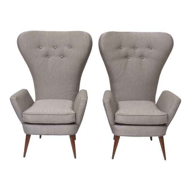 Pair of Italian Modern High Back Chairs, Italy For Sale