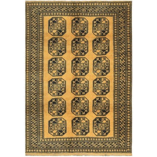 Contemporary Hand Woven Black & Gold Wool Rug - 6'11 X 9'7