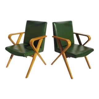 1940s Howard Hughes Studios Stylized Bentwood Screening Room Chairs - a Pair For Sale