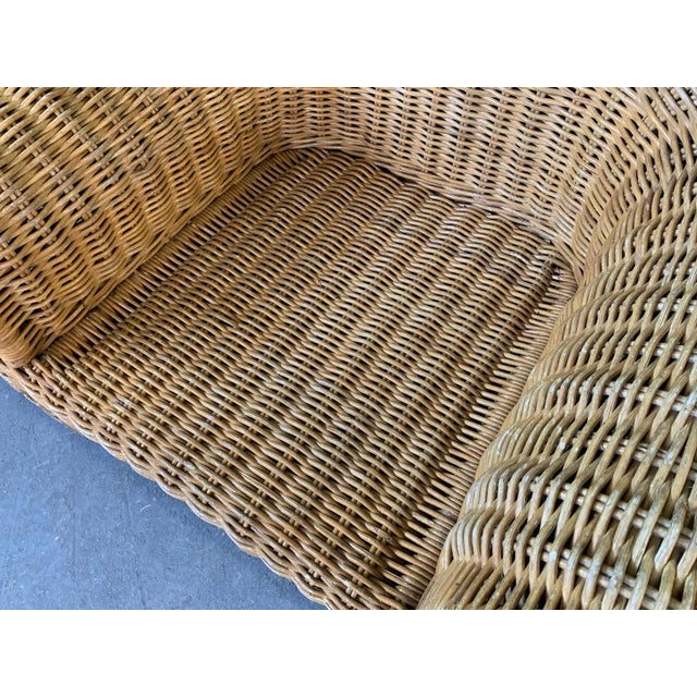 Brown Sculptural Wicker Chair in the Manner of Michael Taylor For Sale - Image 8 of 9