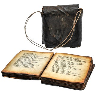 19th Century Coptic Bible in Wood With Leather Case For Sale