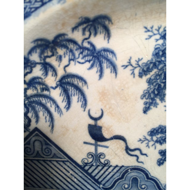 Early 19th Century Blue and White Staffordshire Large Platter For Sale - Image 4 of 12