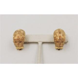 1980s Grosse Goldtone Harlequin Design Half Hoop Earrings Preview