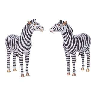 Large Cloisonné and Brass Zebras - A Pair For Sale