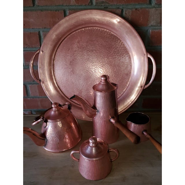 1950s Vintage Rustic Mexican Hammered Copper and Brass Coffee Serving Set For Sale - Image 5 of 13