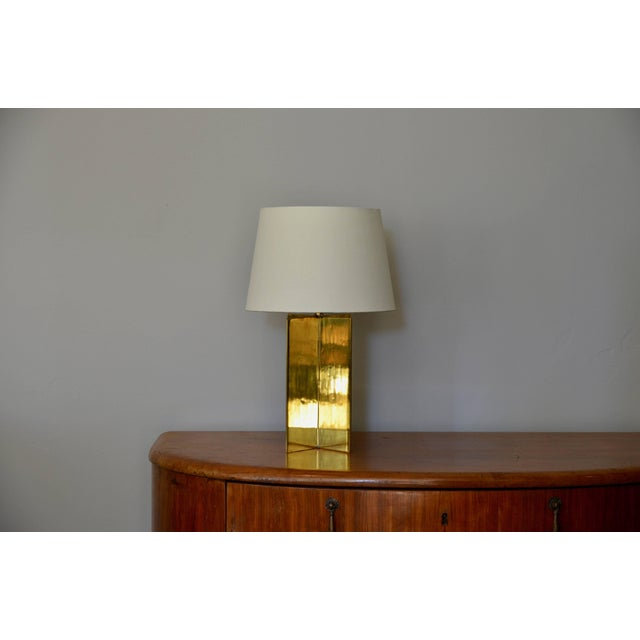 Brass Contemporary Design Frères 'Croisillon' Solid Brass and Parchment Lamps - a Pair For Sale - Image 7 of 8