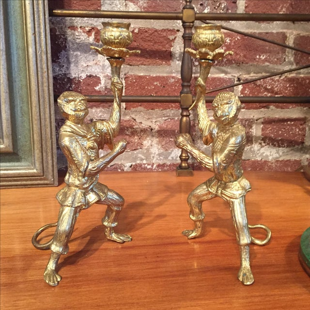 Pair of Gilt Bronze Monkey Candlesticks - Image 8 of 8