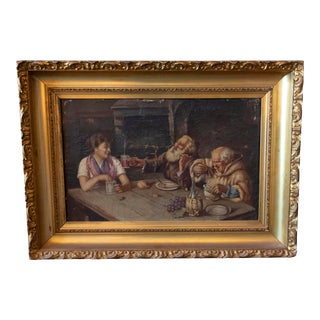 """19th Century """"The Public House"""" Figurative Oil Painting, Framed For Sale"""