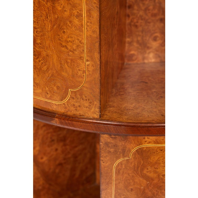 1920s Revolving Circular Library Bookcase of Bird's-Eye Maple For Sale - Image 5 of 12