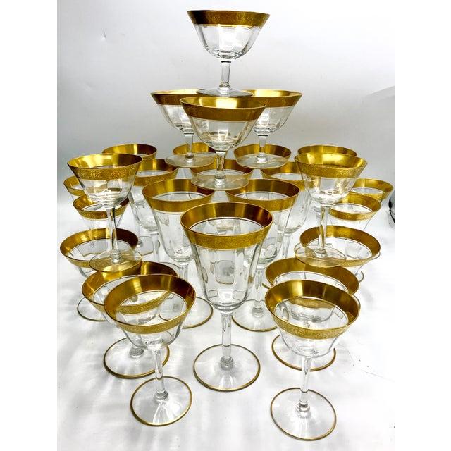 Gold 1930s Vintage Tiffin Franciscan Rambler Rose Crystal Stemware - Set of 26 For Sale - Image 8 of 8