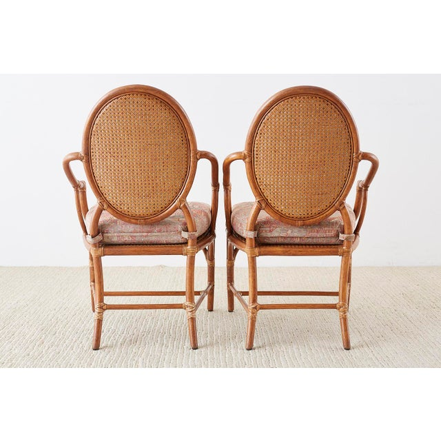 McGuire Rattan Chinoiserie Dining Armchairs - Set of 8 For Sale - Image 12 of 13