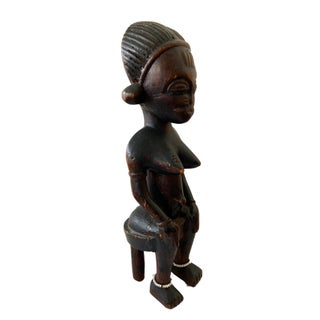 """Baule Mid Century Wood Sculpture of a Seated Female 12.5"""" H Preview"""