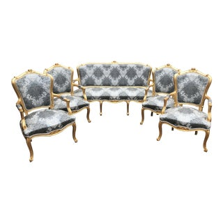 1960s Vintage Modern French Louis XVI Style Living Room Set- 5 Pieces For Sale
