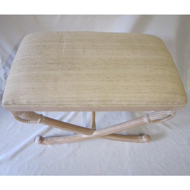1970s 1970s Pickled Wood Bench For Sale - Image 5 of 7