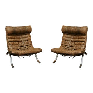 Norell Brown Leather Chairs - a Pair For Sale