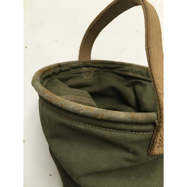 Green Vintage World War II 1944 Canvas Water Bucket For Sale - Image 8 of 9