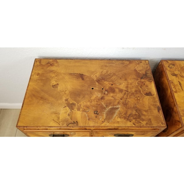 Italian Campaign Style Burlwood Patch Chest / Nightstands - a Pair For Sale - Image 10 of 13