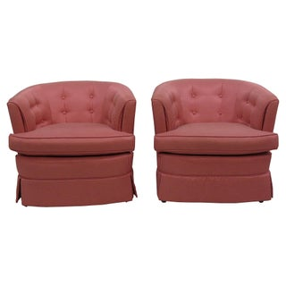 Coral Tufted Lounge Chairs - A Pair For Sale