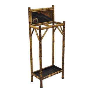 Antique Oriental Charred Burned Bamboo Umbrella Cane Hall Stand For Sale