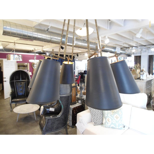 Currey & Company Wrought Iron & Metal Chandelier - Image 3 of 6