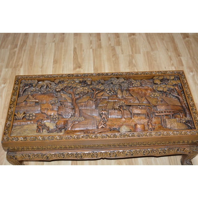 Asian Asian Hand-Carved Teak Coffee Table For Sale - Image 3 of 9