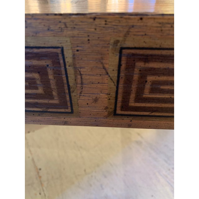 Inlaid Wood Rectangular End Table With Geometric Decoration For Sale In Philadelphia - Image 6 of 13
