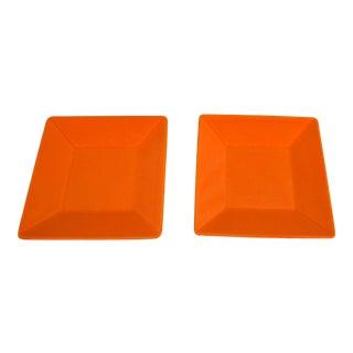 Modern Orange Square Waechtersbach Plates - a Pair For Sale