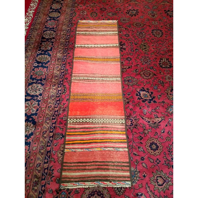 1950s Moroccan Red and Orange Wool Kilim Runner - Image 9 of 9