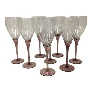 Romania Lavender Stem Wine/Water Goblet Glasses Set of 8 For Sale