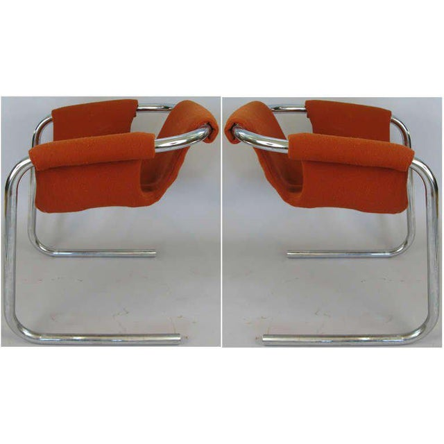 This listing is for a pair of chrome tube sling seat Zermatt chairs by Vecta, Italian 1970's.