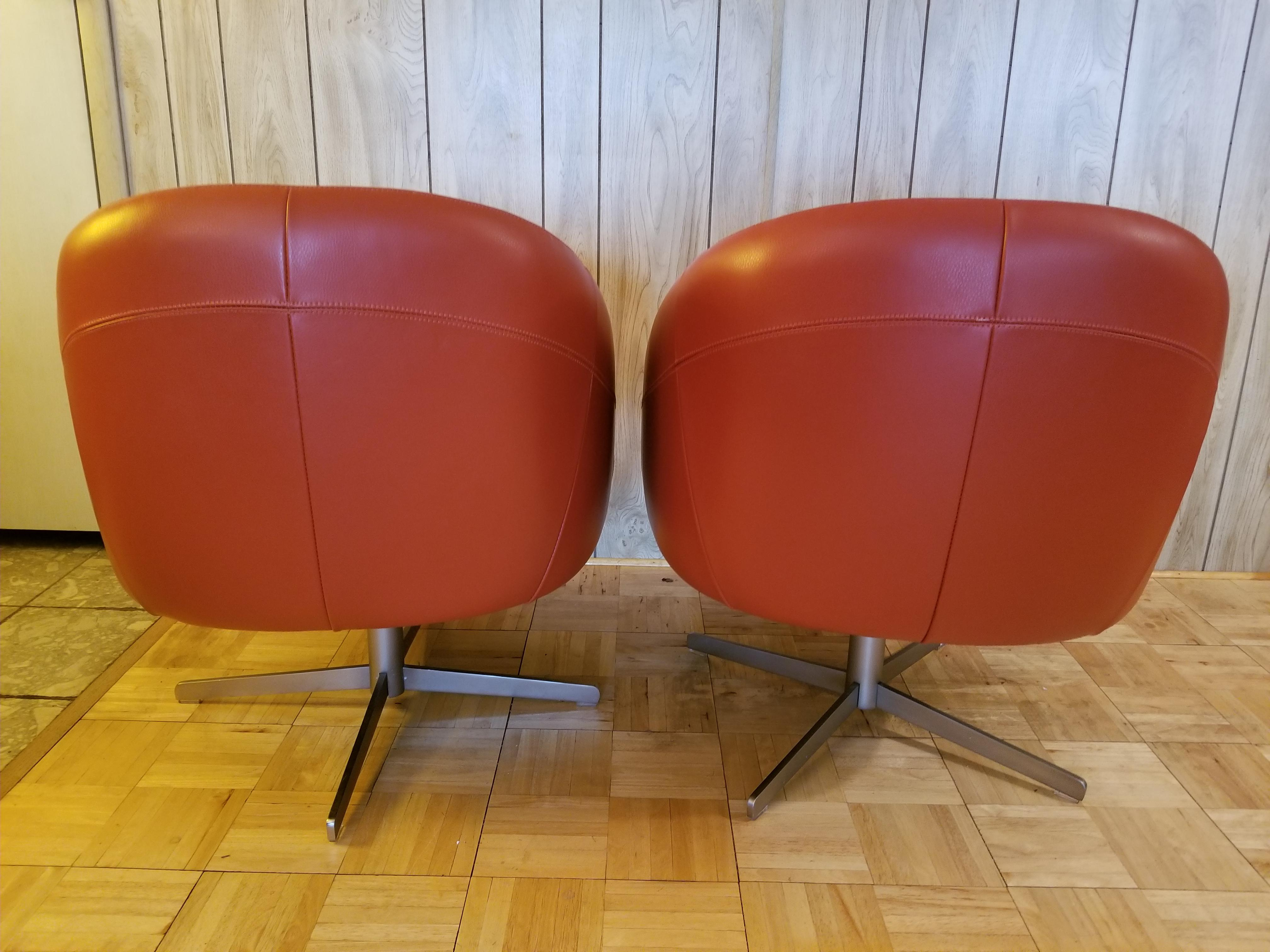 Industrial Burnt Orange Leather Brushed Steel Base Club Chairs   A Pair    Image 3 Of