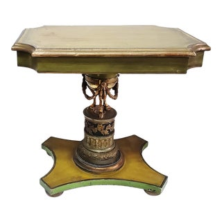 Antique Studio Side Table With Bouhon Bronze Chenet Support For Sale