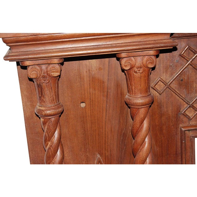 1920s Antique Indian Hand-Carved Fireplace Console For Sale - Image 5 of 7