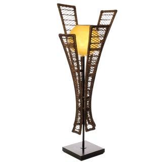 1970s Rattan Panel Floor Lamp For Sale