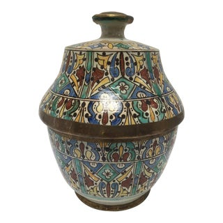 Moroccan Ceramic Glazed Jar With Cover Handcrafted in Fez Morocco For Sale