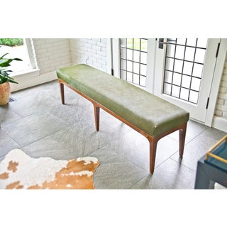 Walnut Bench With Laser Cut Cowhide Upholstered Seat Preview