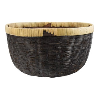 1970s Tribal Black and Natural Woven Basket For Sale