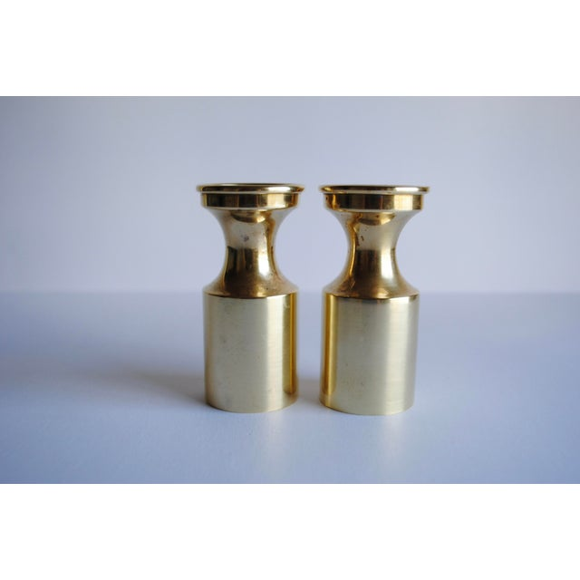 Mid Century Brass Candle Holders - a Pair - Image 2 of 4