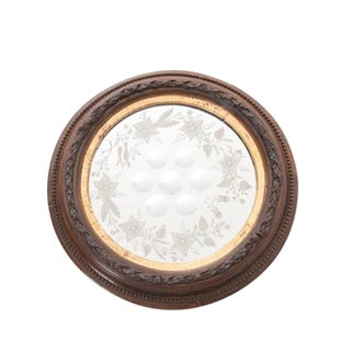 French 19th Century Bull's Eye Etched Glass Round Mirror For Sale