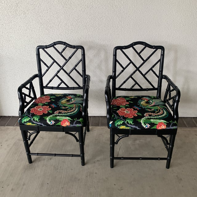 Black Bamboo Chairs- a Pair For Sale - Image 13 of 13