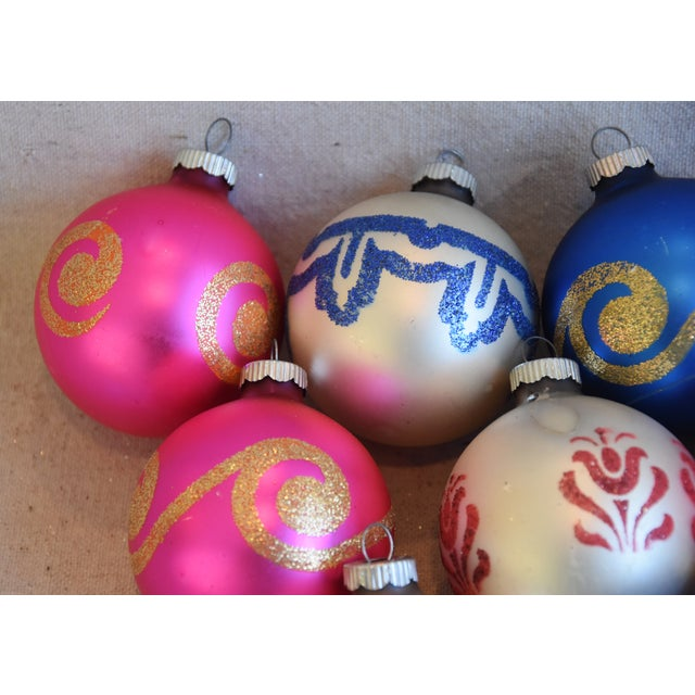 Vintage Colorful Christmas Ornaments W/Box - Set of 9 For Sale - Image 4 of 8