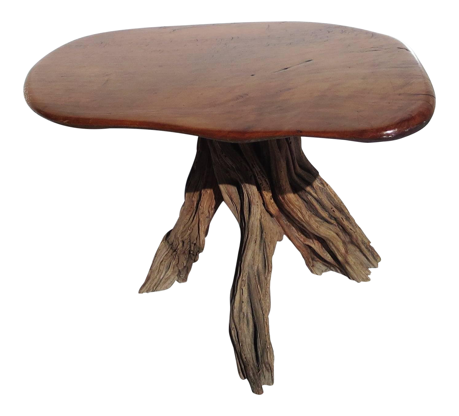 Free Form Burled Wood Side Table For Sale