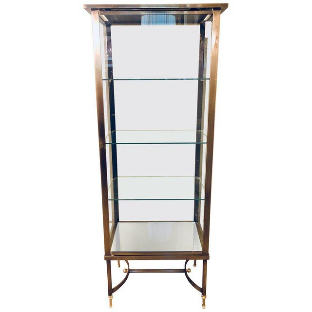 A French Hollywood Regency / Directoire Style Steel and Bronze Vitrine Cabinet. For Sale - Image 13 of 13