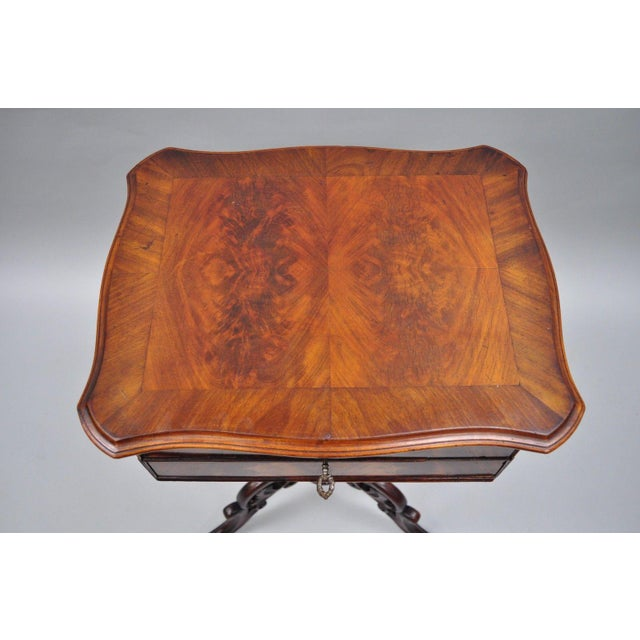 Mid 19th Century Antique Victorian Sewing Stand Side Table For Sale - Image 5 of 12