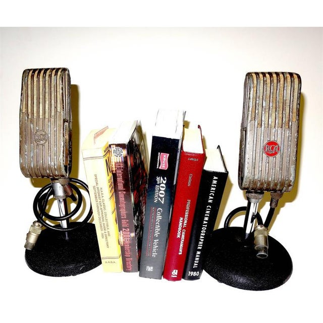 1940s 1945 RCA Vintage Broadcast Microphones As Bookends or As Sculpture. Rare and Original. For Sale - Image 5 of 10