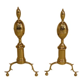 Virginia Metal Crafters Brass Federal Style Fireplace Andirons - a Pair For Sale