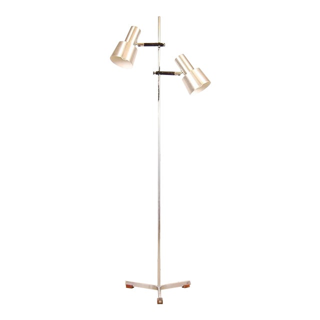 Floor Lamp in Stainless Steel and Teak by Fog & Mørup For Sale